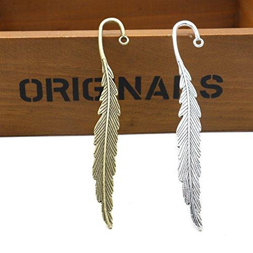 Hook Bookmark - MAISHO 10 pcs Beading Feather Bookmarks(Antique Silver+Gold)