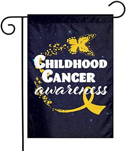 HOOSUNFlagrbfa Childhood Cancer Awareness Butterfly Ribbon Printed Demonstration Garden Flags 12 X 18 Inch
