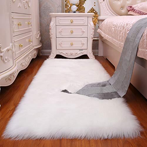 Noahas Luxury Fluffy Rugs Bedroom Furry Carpet Bedside Sheepskin Area Rugs Children Play Princess Room Decor Rug, 3ft x 6ft White