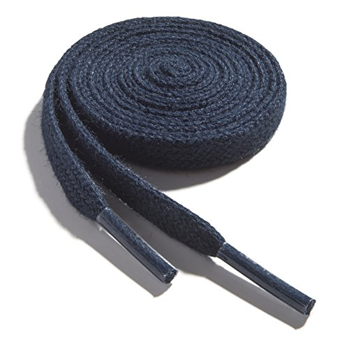 OrthoStep Cotton Flat Dress Thin 36 inch Navy Shoe laces 2 Pair Pack ()