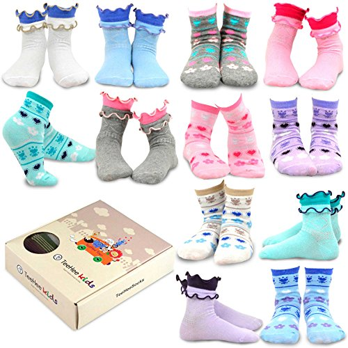 TeeHee Kids Girls Cotton Fashion Fun Crew Socks 12 Pair Pack (3-5 Years, Ruffle & Flower Heart)