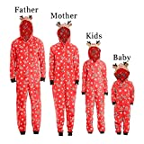 Family Matching Pajamas Sets Christmas Pajamas Outfit Reindeer Hooded Romper Jumpsuit PJ Sets Mom Dad Kids Sleepwear