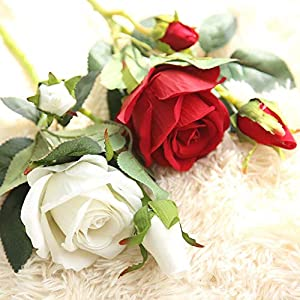Naiflowers Artificial Flower,1PC Artificial Fake Rose Floral DIY Bridal Bouquets Real Looking Silk Flower with Plastic Stem for Home Wedding Party Decoration (B) 3