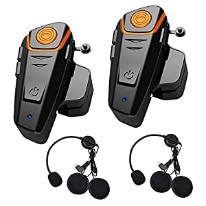 Qinaurora BT-S2 1000m Bluetooth Headset Waterproof BT Motorcycle Motorbike Helmet Intercom Interphone Headset,Walkie Talkie GPS Hands Free MP3 Player FM Radio for 2 or 3 riders