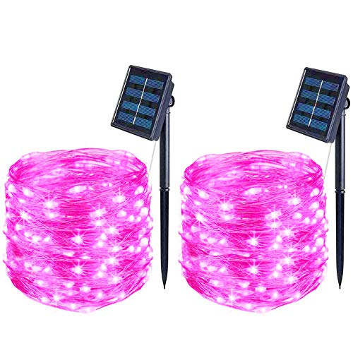 BOLWEO 2 Pack Pink Solar Fairy Lights Decorative, 39.4Ft Solar Deck Lights, 120LED Solar Fence Lights, Waterproof Starbright Rope Outside Home Garden Pathway Yard