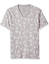 Men's All Over Letter Printed V Neck Tee