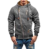 Bolayu Fashion Men's Autumn Long Sleeve Zipper Hooded Sweatshirt Outwear Tops Blouse Sweatshirt (L, Dark Gray)