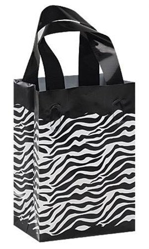 Count of 25 Small Frosted Plastic Zebra Print Shopper 5