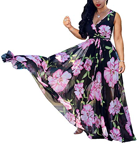 (Maxi Dresses for Women - Sexy Wrap V Neck Chiffon Floral Beach Sun Dresses (Large, Chiffon Black))