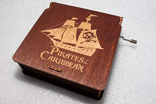 Black Pearl Black Flag Ship Music Box - Pirates Of The Caribbean Davy Jones Locket Jack Sparrow - Engraved Wooden Box - Hand Crank Movement