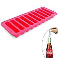 Elbee Home Silicone Ice Stick Mold Tray Fits into Soda Bottles Makes 10 Easy Release Ice Cube Sticks