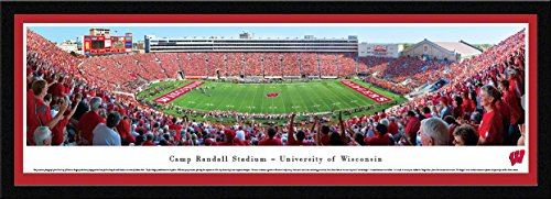 Wisconsin Badger Football - 50 Yard Line - Blakeway Panoramas Print with Select Frame and Single (Wisconsin Badgers Mat)
