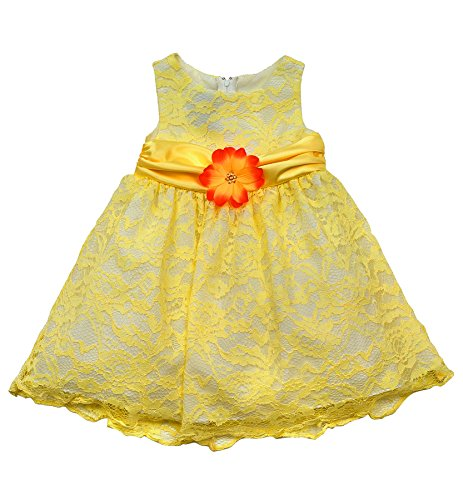 Rare Editions Little Girls 2T-6X Yellow White Lace Overlay Dress (3T, (Rare Editions Holiday Dress)