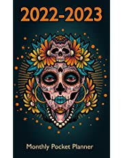 2022-2023 Monthly Pocket Planner: Mexican Skull Roses Cover Design, 2 Year Monthly Planner with Federal Holidays | Schedule Organizer Small Size for Purse | Birthday, Contact, Password Log and More
