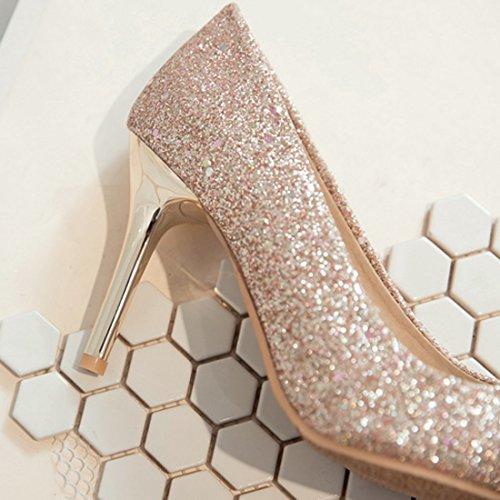 YE Damen Spitze Pumps Stiletto High Heels Glitzer mit Pailetten Hochzeit Party Schuhe Gold