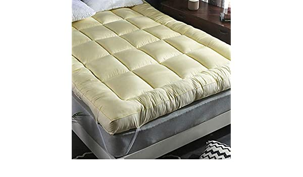 HSGei Colch/ón Topper Super Soft 4 Inch 10CM Thick Micro Fibre Filled Beige,135x200cm Single//Double//King//Super King Extra Thick and Luxury