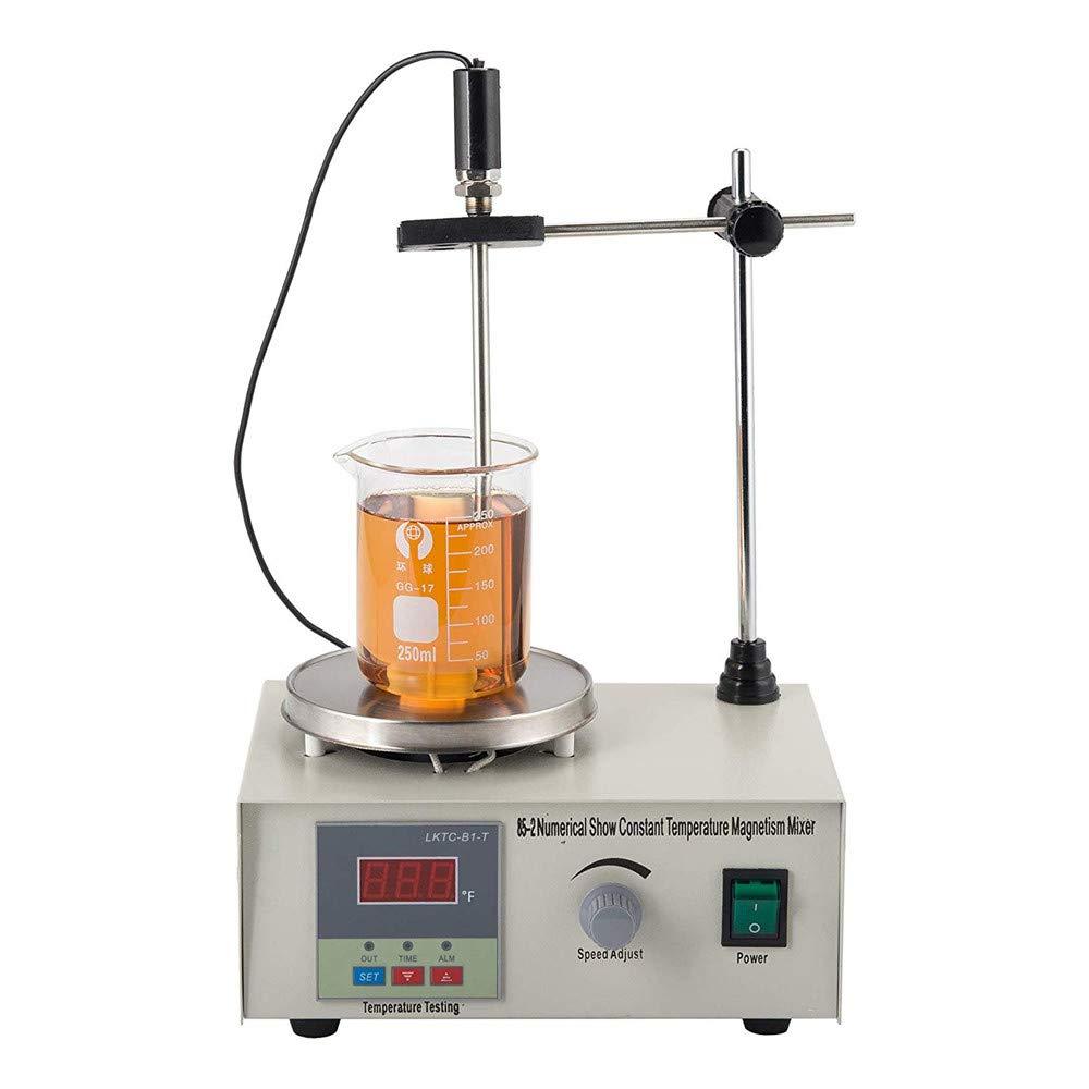 HUKOER Máquina Agitadora Magnética con Placa Caliente Mezclador de Laboratorio con Temporizador Inteligente 1000ML (85-2)
