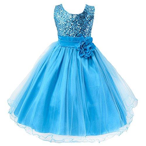 Girls Wedding Dress Ball Gown Bridesmaid Tull Sequined Sleeveless Dress ,140(US 10),  Blue