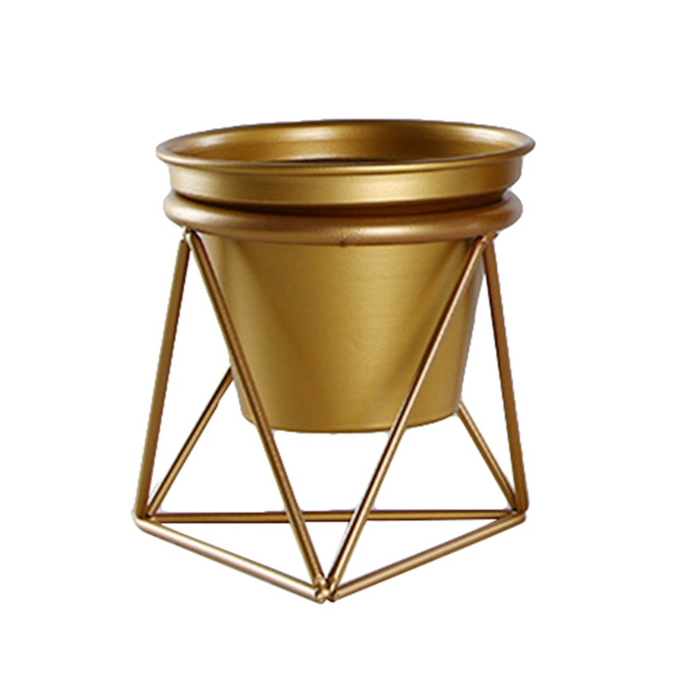 cheerfulus Large Gold Flower Planter Pot with Geometric Iron Rack Holder Gold Metal Stand Indoor Tabletop Garden Pot Air Plant Container for Succulents Herbs Cactus Plants