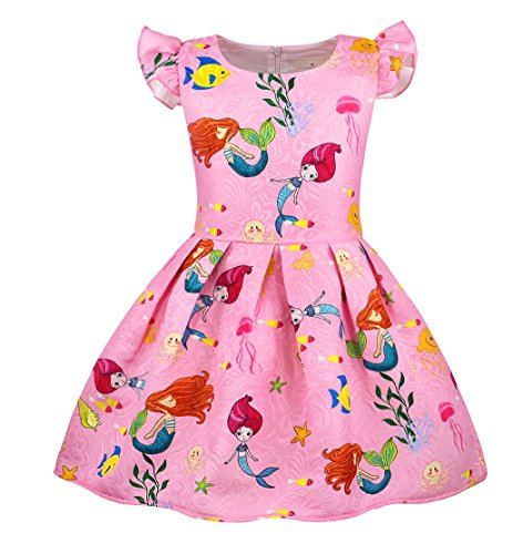 (HenzWorld Little Mermaid Dress Costume Flutter Sleeve Birthday Party Outfit Pink)