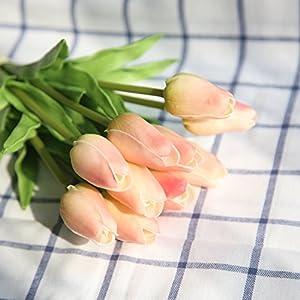 COOBL Artificial Silk Flower High Grade Decorative Tulip Flower Wedding Bouquet Bride Holding Garlands Vine DIY Floral Art Plant Bride Home Decor(20pcs) 45