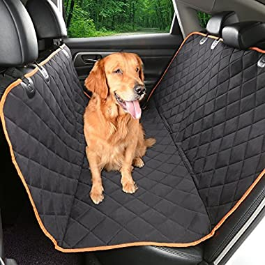 Environmental Dog car seat cover 54''Wx58''L,ecolover Patented TPU Hammock Pet Car Seat Cover with non-slip Backing,Orange Trim and Waterproof