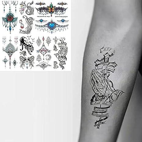 Oottati 8 Hojas Tatuajes Temporales 3D Mano Cuello Patrón Cruz ...