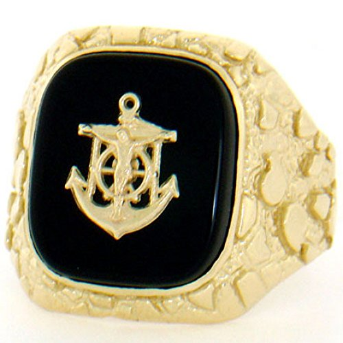 (14k Solid Yellow Gold Nugget Onyx Anchor Mens Ring)