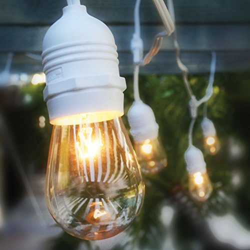 Fantado 10 Suspended Socket Outdoor Grade Patio Commercial String Light Set, S14 Bulbs, 21 FT White Cord w/ E26 Medium Base, Weatherproof by PaperLanternStore ()