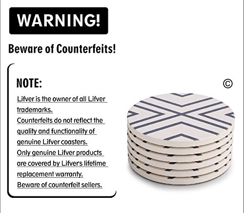 Lifver 6 Piece Absorbent Stone Coaster Set With Holder,Drink Spills Coasters, Grey-Lines by DAPRIL (Image #7)