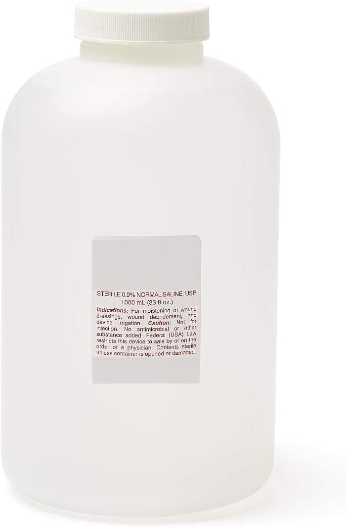 Sterile Saline 0.9% Sodium Chloride for Wound Care and Irrigation 1000ml Bottle