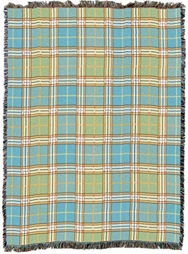 (Pure Country Weavers Freshwater Blue Green Plaid Woven Large Tapestry Throw Blanket with Fringe Cotton USA 72x54 Perfect Decor Gift for Mother Daughter Father Son Him Her)