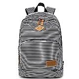 School Backpack Bookbag Canvas Casual Daypack for Teen Girls (Black)