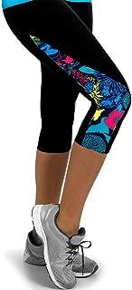 YMCHE Sports Yoga Fitness Leggings Coutures latérales Triangle Imprimé Taille Haute Yoga Pantalon décontracté Sports Pantalon Stretch Pantalon Court