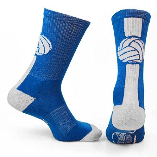 ChalkTalkSPORTS Athletic Half Cushioned Crew Socks | Mid Calf | Volleyball | Royal Blue/White, One Size