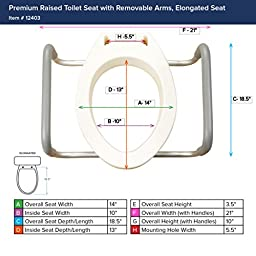 Drive Medical Premium Seat Riser with Removable Arms, Elongated Seat