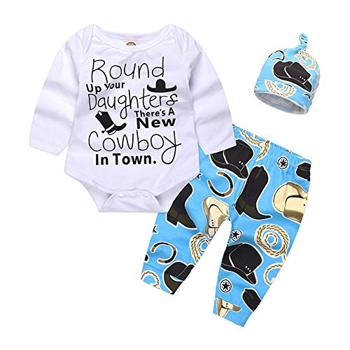 3Pcs Funny Baby Boys Clothes Set Long Sleeve Romper Tops + Cowboy Pants + Hat Outfits Set (Blue, 0-6 Months)