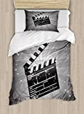 Ambesonne Movie Theater Twin Size Duvet Cover Set, Clapper Board on Retro Backdrop with Grunge Effect Director Cut Scene, Decorative 2 Piece Bedding Set with 1 Pillow Sham, Grey Black White
