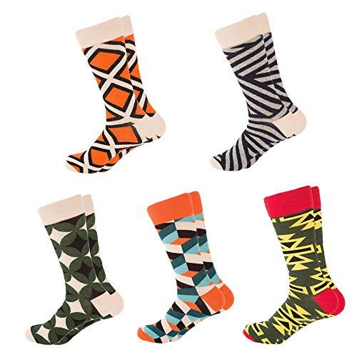Mens Dress Socks Funny Colorful Cool Crew Socks for men Cotton Crazy Novelty Socks Packs