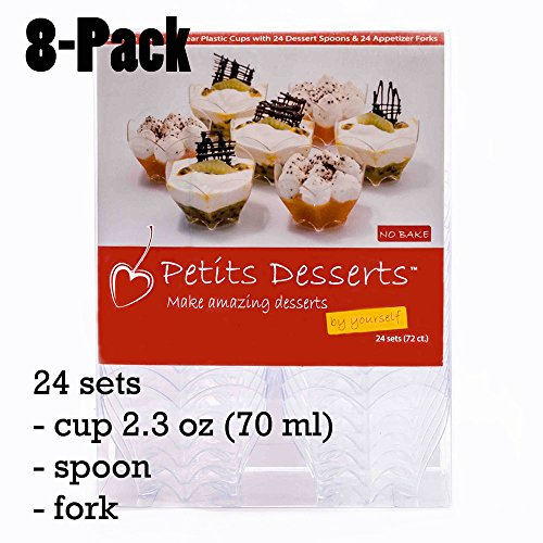 Petits Desserts 72-Piece Set of 24 Dessert Cups 70ml, 24 Dessert Spoons, and 24 Forks Clear Color (8-Pack)