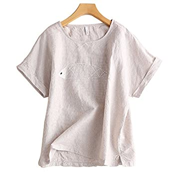 91e6f22404201 Xmy Arts van small fresh cotton linen of the shirt female summer short- sleeved linen