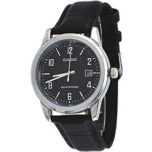 51Rcz6SCfZL. SS300  - Casio MTP-VS01L-1B2 Men's Standard Solar Leather Band Black Dial Date Watch