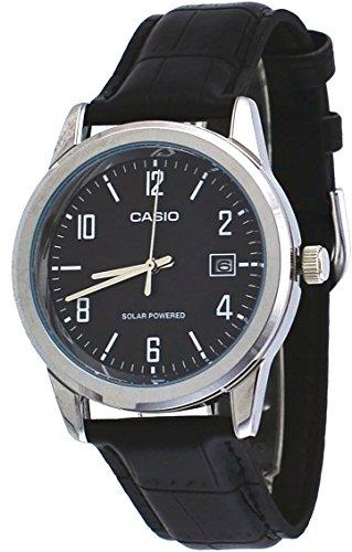 51Rcz6SCfZL - Casio MTP-VS01L-1B2 Men's Standard Solar Leather Band Black Dial Date Watch