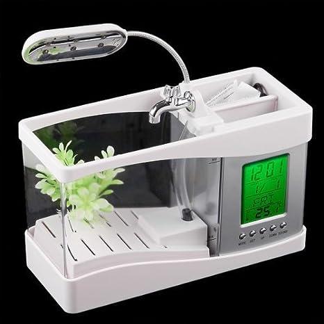 Mini USB DLLL del tanque de pescados del acuario con la luz de la lámpara de escritorio LCD reloj llevado blanco: Amazon.es: Iluminación