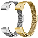 "Oitom For Fitbit Alta HR Accessory Bands and For Fitbit Alta Band, Fashion Stainless Steel Milanese Loop Wristband (2 Pack Silver+Gold, Small 5.1""-6.7"")"