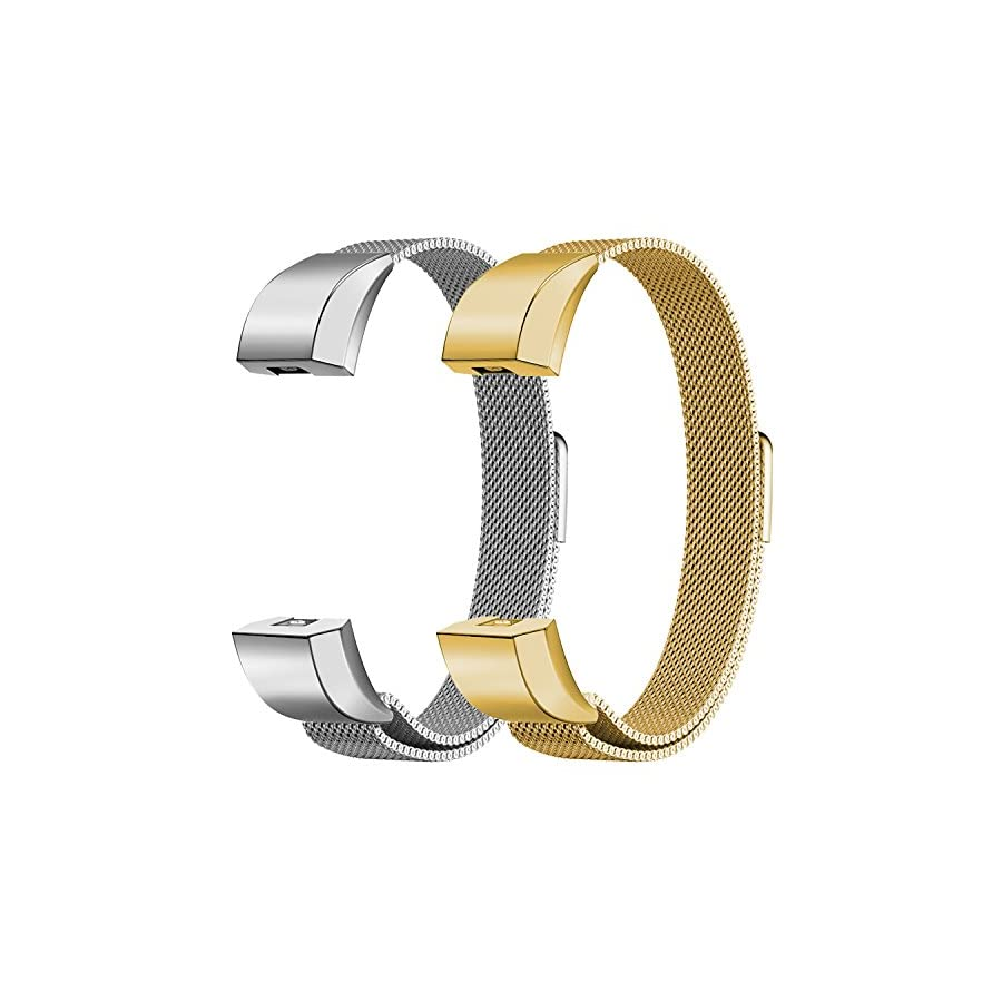 """Oitom Bands Compatible Fitbit Alta HR and Fitbit Alta/Fitbit Alta Ace,Replacement Accessory Stainless Steel Watch Bands (2 Size) Large 6.7"""" 9.3"""" Small 5.1"""" 6.7"""" 2 Pack"""