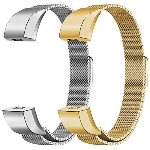 """Oitom for Fitbit Alta HR Accessory Bands and Fitbit Alta Band Metal Mesh Accesorry Replacement Bands, (2 Size) Large 6.7"""" 9.3"""" Small 5.1"""" 6.7"""" Women Men 2 Pack Silver Black Rose Gold Champagne Rainbow"""