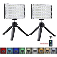 2-Pack GVM RGB Dimmable LED Camera Light with APP Control CRI97 Dimmable 3200K-5600K Light Panel