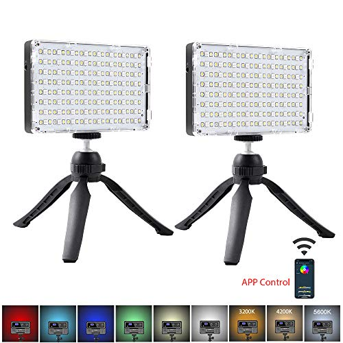 GVM 2 Pack RGB LED Camera Light Full Color Output Video Lights with APP Control CRI97 Dimmable 3200K-5600K Light Panel for YouTube DSLR Lighting, with Battery, Stand, Filter