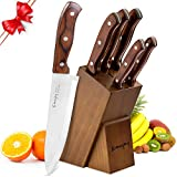 Kitchen Knife Set, 6-Piece Knife Block Set, Wooden Handle Knife Set with Block, Stainless Steel Chef Knife Set with Pakkawood Handle, by Emojoy,Gyutou Knives